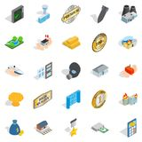 Over profit icons set, isometric style Royalty Free Stock Images