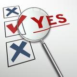 over questionnaire white word yes Royaltyfria Bilder