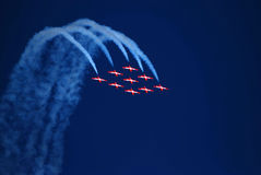 Over the rainbow. THe Canadian snowbirds coming from over the top Stock Photography