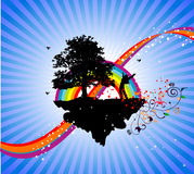 Over the rainbow success. Floral pattern , has place to place text , over the rainbow showing successful man Stock Photos