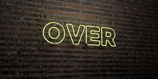 OVER -Realistic Neon Sign on Brick Wall background - 3D rendered royalty free stock image. Can be used for online banner ads and direct mailers Royalty Free Stock Images