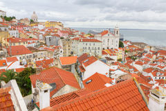 Over the red roofs of Lisboa, Portugal Stock Images