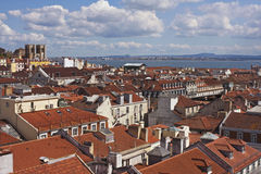 Over red roofs of Lisbon Stock Photo