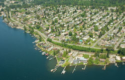 Over Residential Area of Seattle. Aerial view of residential area in Seattle, WA Stock Image