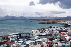 Over Reykjavik and the mountain Royalty Free Stock Photo