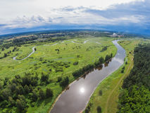 Over the river Mologa near Maksatikha. Shooting from height of the bird's flight. Maksatikhinsky District, Tver Region Royalty Free Stock Images