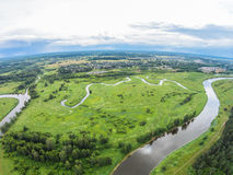 Over the river Mologa near Maksatikha. Shooting from height of the bird's flight. Maksatikhinsky District, Tver Region Royalty Free Stock Photo