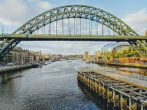 Newcastle bridges view royalty free stock photography
