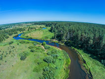 Over the river from Volchina village of Ivanovskoe. Shooting from height of the bird`s flight. Maksatikhinsky District, Tver Region Royalty Free Stock Image