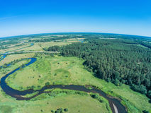 Over the river from Volchina village of Ivanovskoe. Shooting from height of the bird`s flight. Maksatikhinsky District, Tver Region Royalty Free Stock Photography