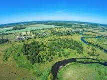 Over the river from Volchina village of Ivanovskoe. Shooting from height of the bird`s flight. Maksatikhinsky District, Tver Region Stock Photography