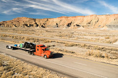 Over The Road Long Haul 18 Wheeler Big Rig Truck Flatbed Royalty Free Stock Photography