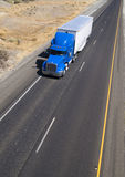 Over the Road Transport Blue Big Rig Truck Highway Royalty Free Stock Images