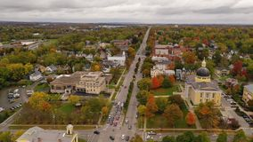 Over Rochester Street Downtown Canandaigua New York. The Ontario County Courthouse stands out on Rochester in downtown Canandaigua New York stock video footage