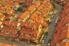Overview of modern houses in Penang Mlaysia. Over the roof view of modern terrace and semi-detached in Penang Malaysia Royalty Free Stock Image