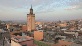 Over the roofs of Fes, Morocco stock video footage