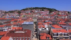 Over the rooftops of Lisbon - LISBON / PORTUGAL - JUNE 14, 2017. Over the rooftops of Lisbon - LISBON, PORTUGAL 2017 stock video footage