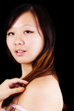 Over The Shoulder Portrait Attractive Chinese Woman Royalty Free Stock Photography