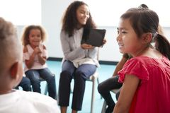 Over shoulder view of smiling young female school teacher showing a tablet computer to infant school children, sitting in a circle. In the classroom, over stock images