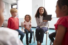 Over shoulder view of smiling young female school teacher showing a tablet computer to infant school children, sitting in a circle. In the classroom, over royalty free stock image
