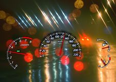 Over speed. Dangerous driving. Stock Photos