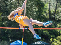 Over the Top. City of Shasta Lake, California. Track and field action at the Burt Williams Track and Field Classic Stock Photo