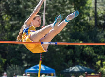 Over the  Top. City of Shasta Lake, California. Track and field action at the Burt Williams Track and Field Classic Stock Photos