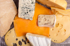 Over top and close up image of different type of cheese Stock Photo