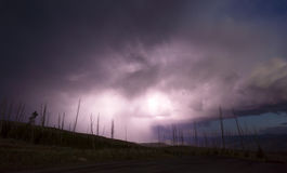 Over Tower Creek Thunderstorm Lightning Strikes Yellowstone National Park. A storm passes thru quickly near Chittenden Road in Yellowstone revealing previously Stock Photography