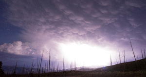 Over Tower Creek Thunderstorm Lightning Strikes Yellowstone NP. A storm passes thru quickly near Chittenden Road in Yellowstone revealing previously burned trees Stock Images