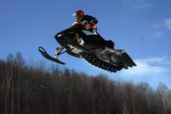 Over the treetops. Taken at elliot lake snowcross Royalty Free Stock Images