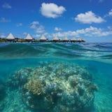 Over under corals underwater resort New Caledonia Stock Images