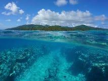 Over under Pacific island underwater ocean floor Stock Photos