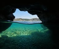 Over under sea cavern seashore Mediterranean sea Stock Photography