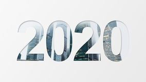2020 over urban background. 2020 year number over city buildings background royalty free stock photo