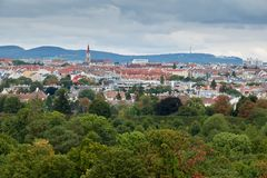 Overview view of Vienna from the Schonbrunn Zoo on a cloudy day Royalty Free Stock Images