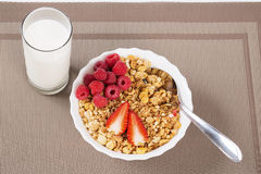 Over view on berrie halfs on cereals Stock Photo