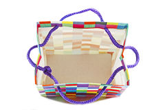 Over View of Empty Patterned Gift Bag on White Stock Image
