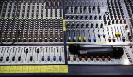 View on sound mixer with regulation buttons. Over view on sound mixer with regulation buttons Stock Images