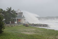 Over wash at point lookout. Waves overwashing into homes along the beach in Milford, ct due to Hurricane Irene Royalty Free Stock Photos