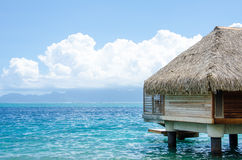 Over water bungalow with view of amazing blue lagoon Stock Image