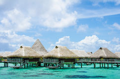 Over water bungalow with view of amazing blue lagoon Stock Photography
