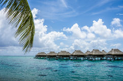 Over water bungalow with view of amazing blue lagoon Stock Photos