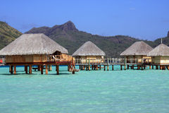 Over water bungalows in Bora Bora Royalty Free Stock Photo