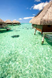 Over water bungalows over amazing green lagoon Stock Photo