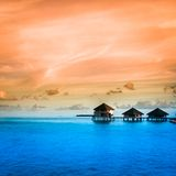Over water bungalows with steps Royalty Free Stock Photography