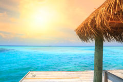 Over water bungalows with steps Royalty Free Stock Photo