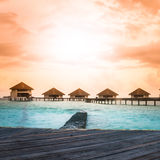 Over water bungalows with steps Stock Images