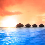 Over water bungalows with steps Royalty Free Stock Image
