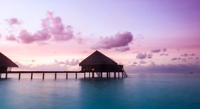 Over water bungalows with steps Stock Photography